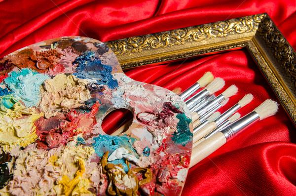 Stok fotoğraf: Sanat · paletine · okul · boya · arka · plan · eğitim