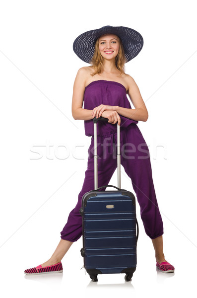 Stock fotó: Nő · bőrönd · izolált · fehér · lány · boldog