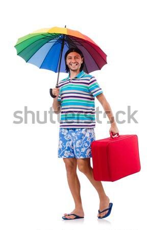 Nő esernyő izolált fehér víz nap Stock fotó © Elnur
