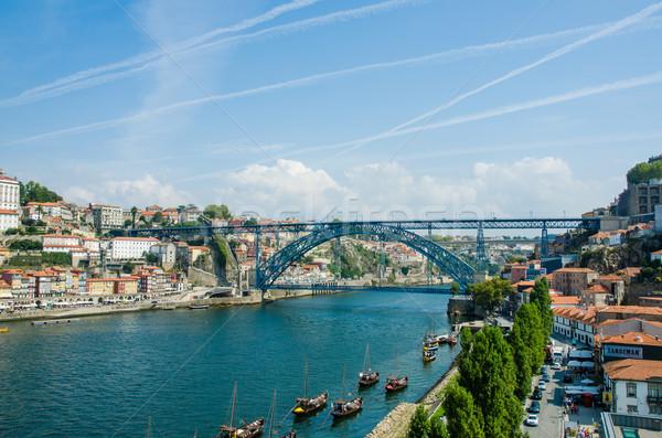 Stockfoto: Brug · Portugal · hemel · metaal · zomer · reizen
