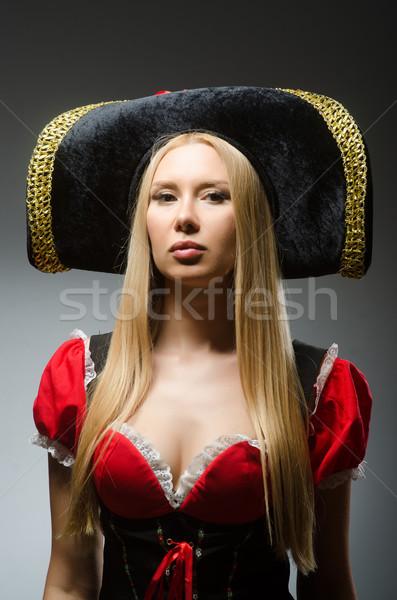 Nő kalóz szürke fekete retro kalap Stock fotó © Elnur