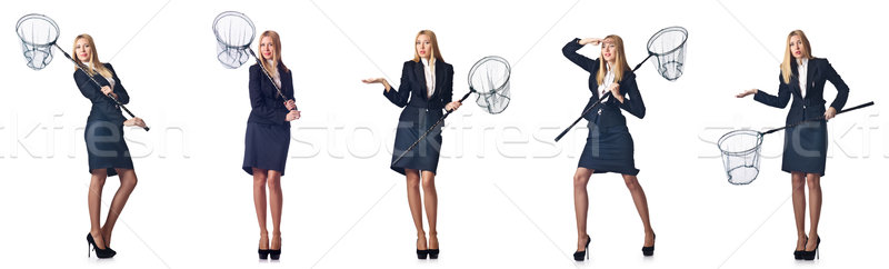Woman with net isolated on white Stock photo © Elnur