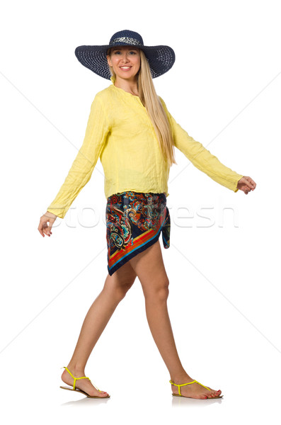 Tall caucasian model wearing hat isolated on white Stock photo © Elnur
