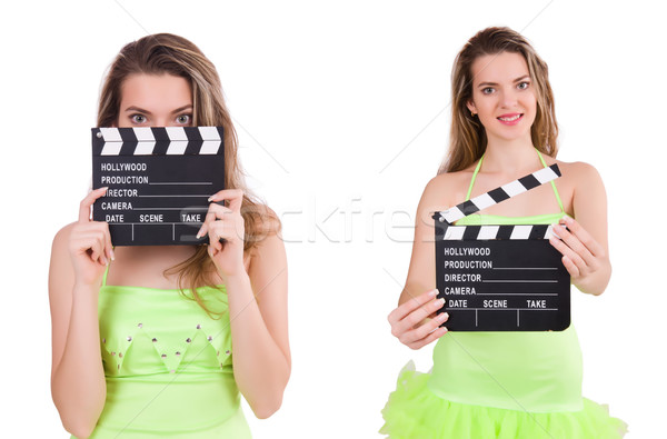 The woman holding movie clapperboard isolated on white Stock photo © Elnur