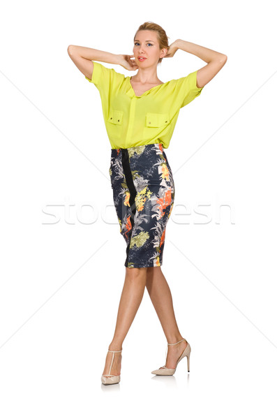 Tall model in yellow blouse isolated on white Stock photo © Elnur