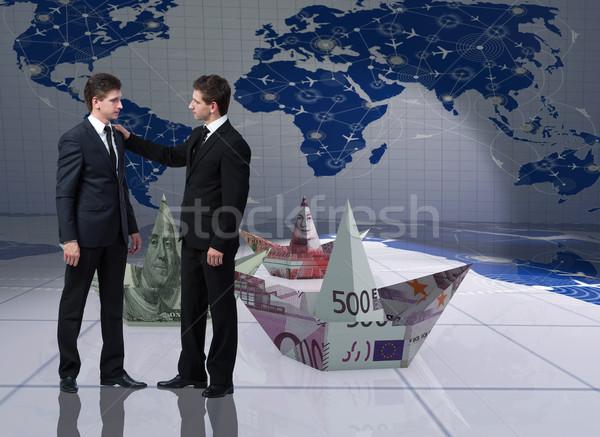 Tweeling broers business water zakenman boot Stockfoto © Elnur