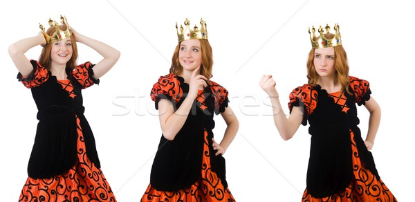 Funny woman queen wearing crown on white Stock photo © Elnur