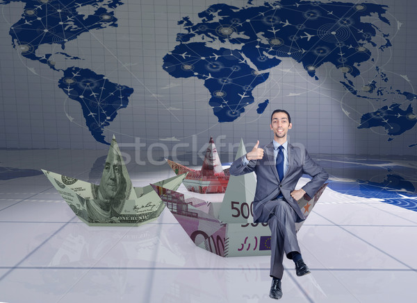 Stockfoto: Zakenman · dollar · papier · boten · business · water