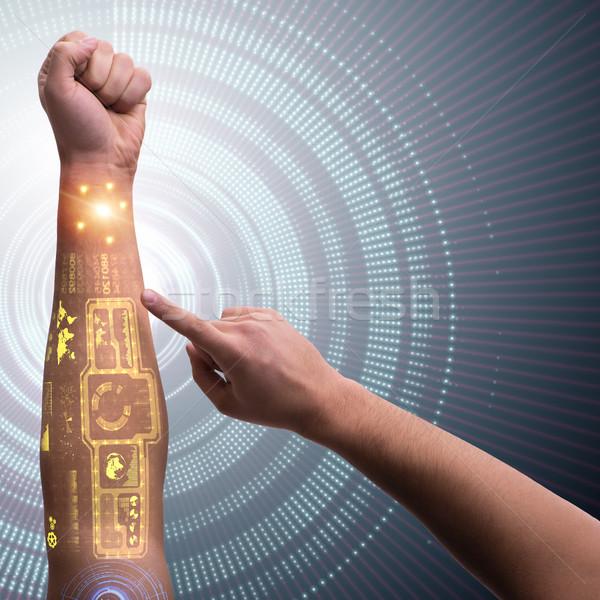 人間 ロボットの 手 未来的な インターネット 男 ストックフォト © Elnur