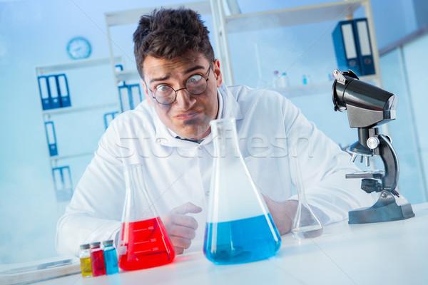 Funny mad chemik pracy laboratorium lekarza Zdjęcia stock © Elnur