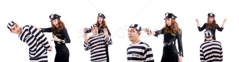 Stockfoto: Politie · gevangenis · bewoner · witte · man · veiligheid