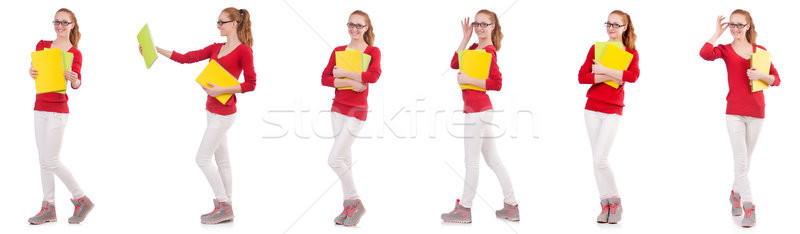 Young student with books on white Stock photo © Elnur