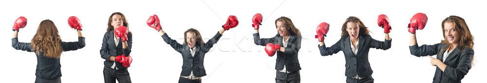 Mulher jovem luvas de boxe isolado branco mulher escritório Foto stock © Elnur