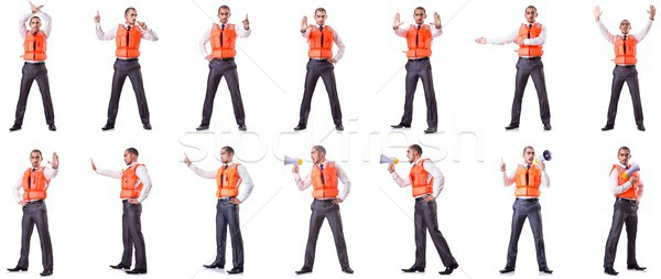 The businessman with rescue safety vest on white Stock photo © Elnur