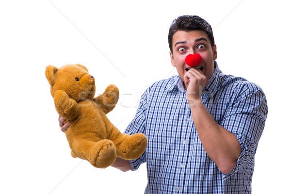 ストックフォト: 面白い · ピエロ · 男 · ソフト · テディベア · おもちゃ
