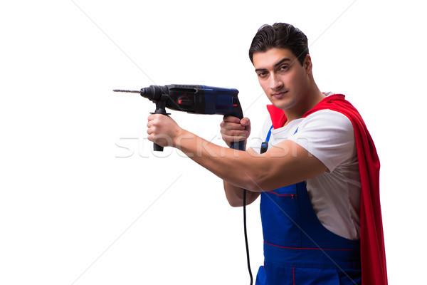 Szuperhős szerelő izolált fehér férfi dolgozik Stock fotó © Elnur