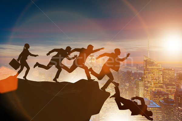 Business people falling off the cliff Stock photo © Elnur