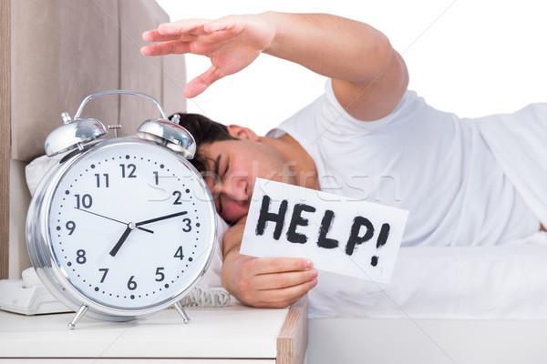 男 ベッド 不眠症 クロック 悲しい ストックフォト © Elnur