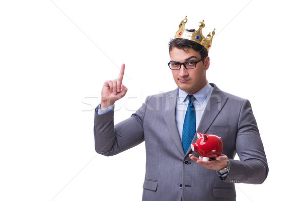 Króla biznesmen banku piggy odizolowany biały Zdjęcia stock © Elnur