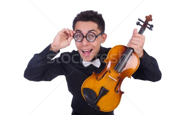 Drôle violon joueur blanche homme sonores Photo stock © Elnur