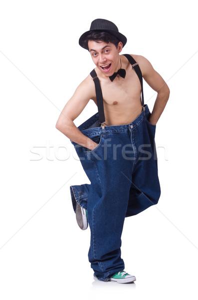 Vicces férfi nadrág izolált fehér egészség Stock fotó © Elnur