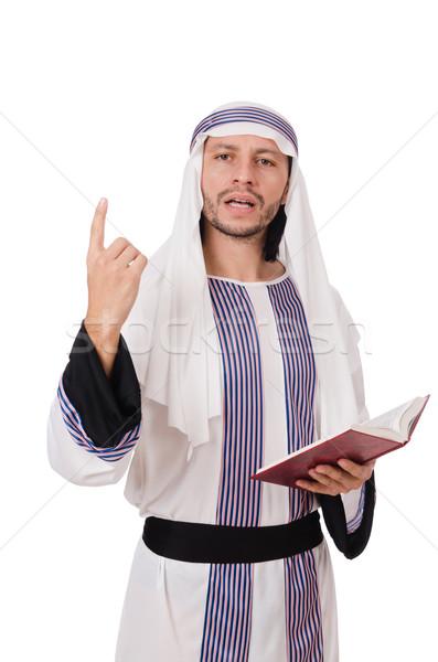 Arab man boek geïsoleerd witte boeken Stockfoto © Elnur