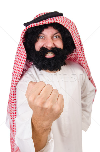 Funny threatening  arab man isolated on white Stock photo © Elnur