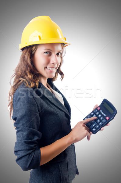 Női építész számológép fehér építkezés munka Stock fotó © Elnur