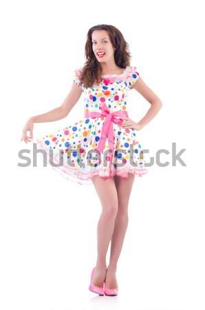 Genç kadın moda model dans beyaz gömlek Stok fotoğraf © Elnur