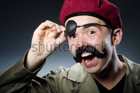 Man safari hoed jacht zwaard spel Stockfoto © Elnur