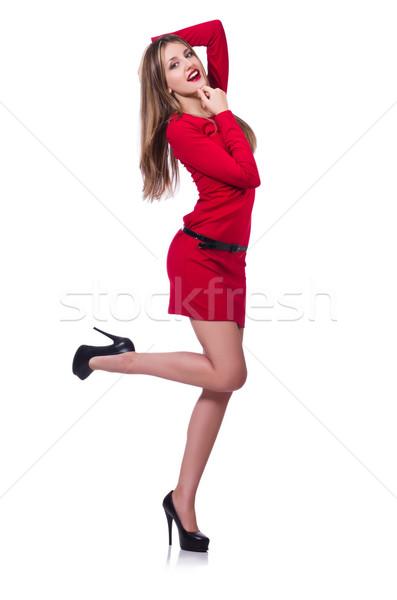 Stock fotó: Fiatal · szőke · nő · lány · piros · rövid · ruha