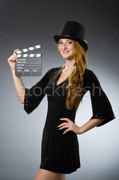 Mujer película gris sonrisa fondo retro Foto stock © Elnur