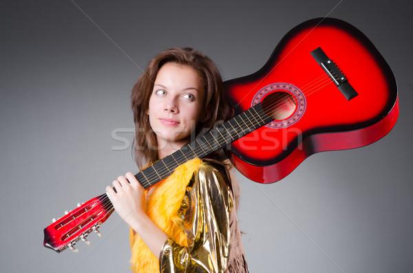 Gitarist Rood instrument muziek partij achtergrond Stockfoto © Elnur
