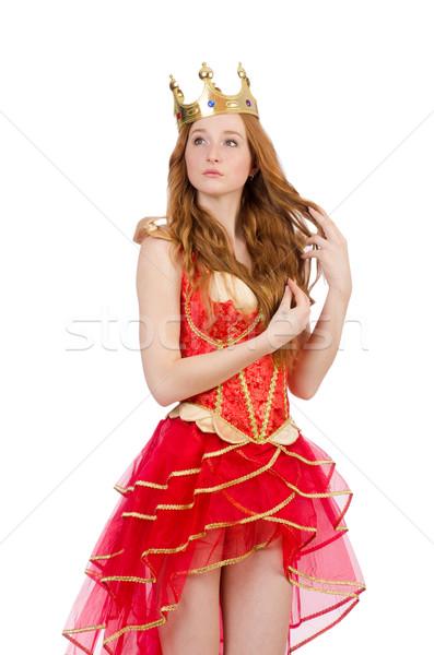 Kraliçe kırmızı elbise yalıtılmış beyaz çalışmak altın Stok fotoğraf © Elnur