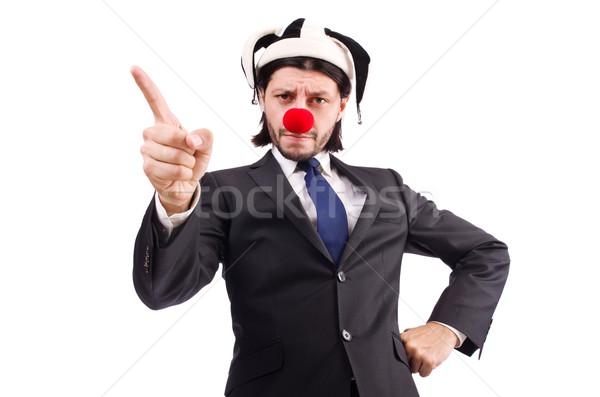 Foto d'archivio: Divertente · clown · imprenditore · isolato · bianco · business
