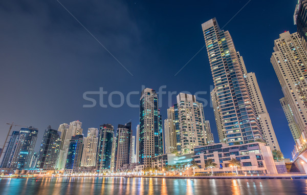 Dubai jachthaven wolkenkrabbers nacht hemel water Stockfoto © Elnur