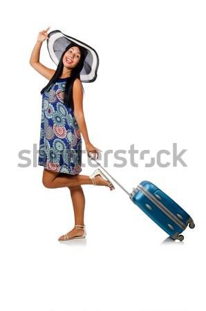 Foto stock: Mulher · viajante · mala · isolado · branco · menina