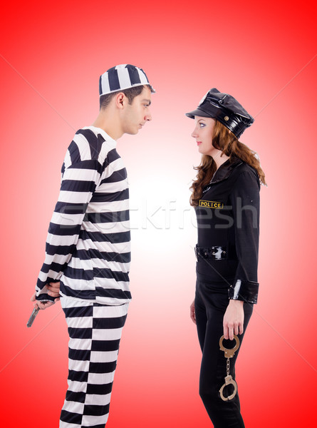 Police and prison inmate against the gradient Stock photo © Elnur