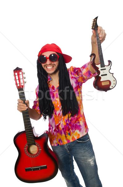 Mannelijke muzikant geïsoleerd witte gelukkig straat Stockfoto © Elnur
