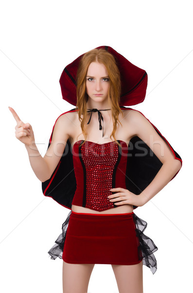 Pretty lady in velvet bordo dress with cap isolated on white Stock photo © Elnur
