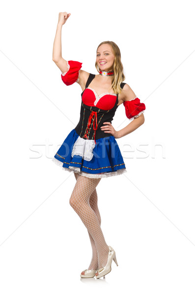 Stock photo: Woman in Oktoberfest concept on white