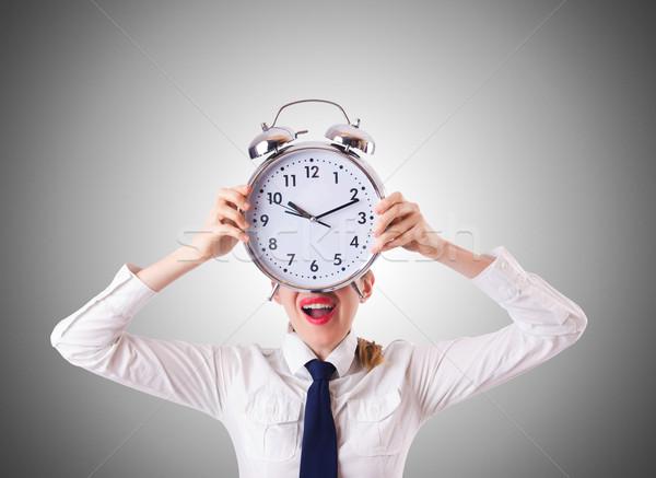 Mujer mujer de negocios gigante reloj trabajo empresario Foto stock © Elnur