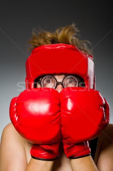 Komik inek öğrenci boksör spor el adam Stok fotoğraf © Elnur