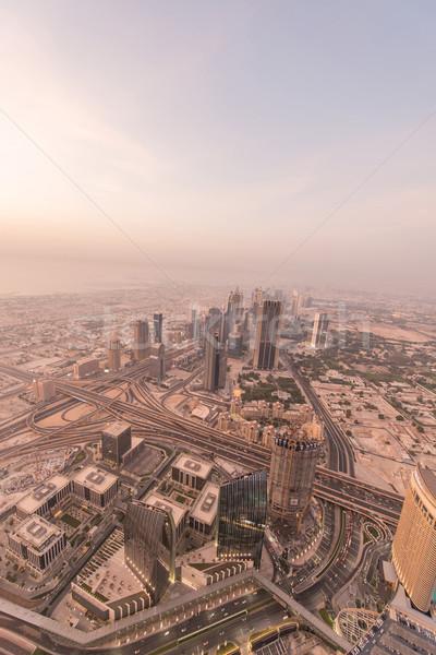 Panorama of night Dubai during sandstorm Stock photo © Elnur