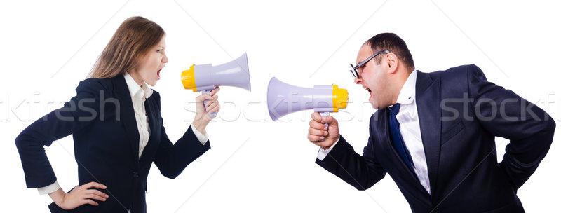 Pair shouting at each other via loudspeaker Stock photo © Elnur
