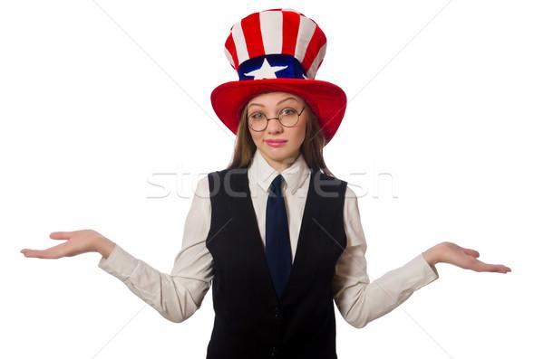 Kobieta hat amerykański symbolika dziewczyna Zdjęcia stock © Elnur