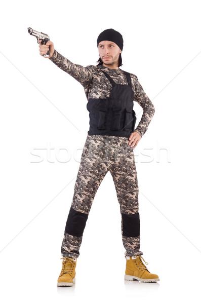 Kafkas asker tabanca yalıtılmış beyaz adam Stok fotoğraf © Elnur
