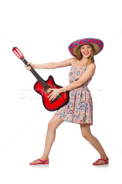 Stock fotó: Nő · musical · gitár · fehér · zene · buli