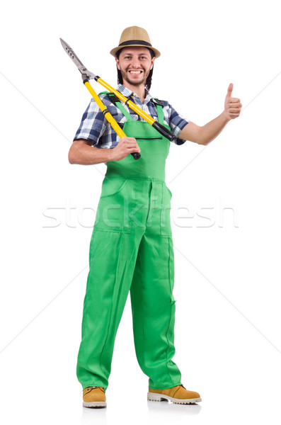 Funny man with shears isolated on white Stock photo © Elnur