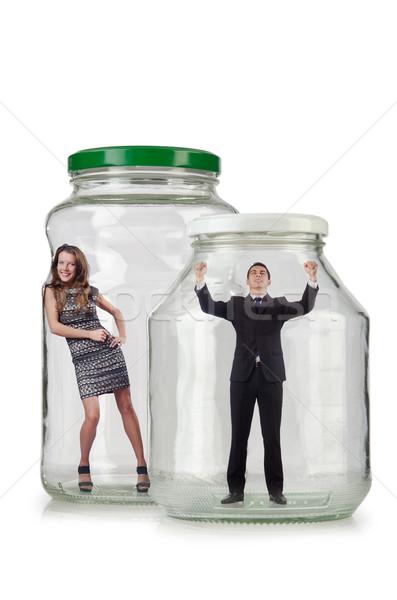 Ludzi uwięzione szkła jar moda ciało Zdjęcia stock © Elnur